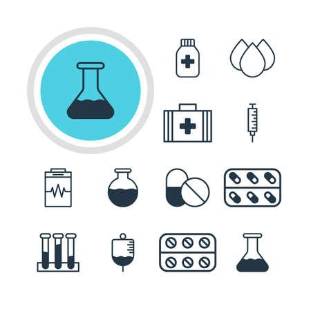 Vektor-Illustration von 12 Gesundheit Icons. Editierbare Packung von Trickle, Behandlung, Impfung und andere Elemente.