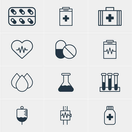 diastolic: Vector Illustration Of 12 Medicine Icons. Editable Pack Of Trickle, Heartbeat, Experiment Flask And Other Elements. Illustration