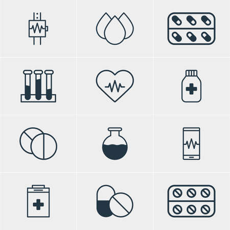 hypothesis: Vector Illustration Of 12 Medicine Icons. Editable Pack Of Medicine, Round Tablet, Phone Monitor And Other Elements.