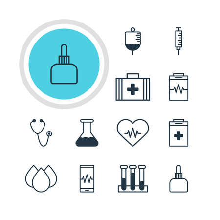 hypothesis: Vector Illustration Of 12 Medicine Icons. Editable Pack Of Phone Monitor, Medicament Pitcher, Treatment And Other Elements. Illustration