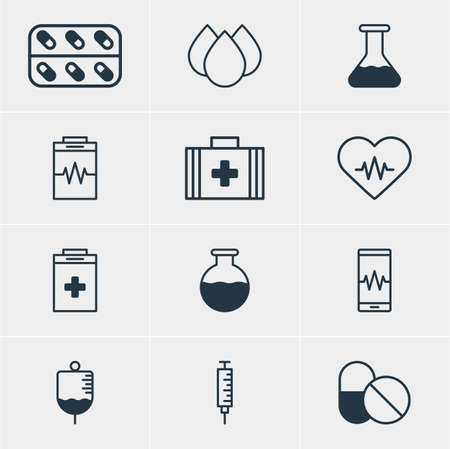 Vector Illustration Of 12 Health Icons. Editable Pack Of Heart Rhythm, Exigency, Treatment And Other Elements.