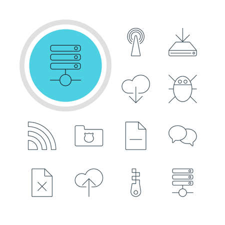 wap: Illustration Of 12 Web Icons. Editable Pack Of Privacy Doc, Server, Data Upload And Other Elements. Illustration