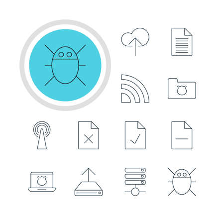 removing: Illustration Of 12 Internet Icons. Editable Pack Of Wireless Network, Removing File, Hdd Sync And Other Elements. Illustration