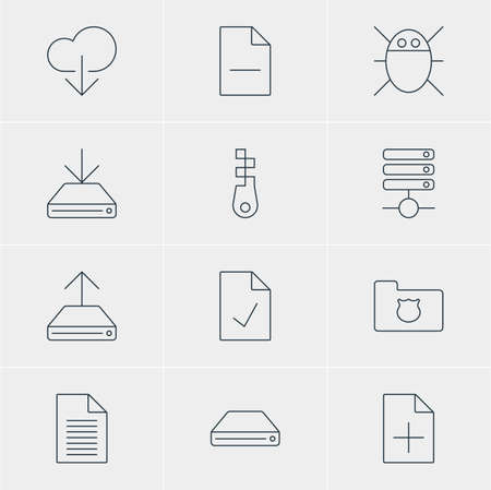 hard drive: Illustration Of 12 Network Icons. Editable Pack Of Privacy Doc, Hard Drive Disk, Removing File And Other Elements. Illustration