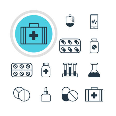 soundness: Illustration Of 12 Health Icons. Editable Pack Of Experiment Flask, Medicine Jar, Aspirin And Other Elements.