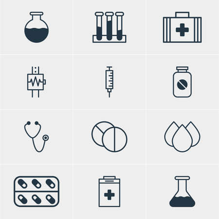 soundness: Illustration Of 12 Health Icons. Editable Pack Of Vial, Round Tablet, Trickle And Other Elements.