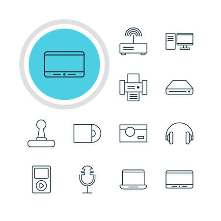lens unit: Illustration Of 12 Hardware Icons. Editable Pack Of Game Controller, Photography, Headset And Other Elements. Illustration