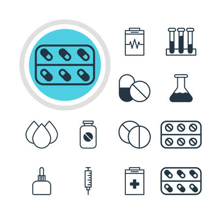 hypothesis: Illustration Of 12 Medical Icons. Editable Pack Of Medicament Pitcher, Round Tablet, Trickle And Other Elements.