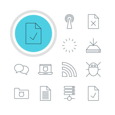 minicomputer: Illustration Of 12 Web Icons. Editable Pack Of Router, Delete Data, Talking And Other Elements.