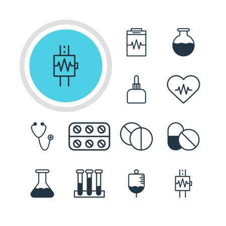 medicament: Illustration Of 12 Health Icons. Editable Pack Of Vial, Medicament Pitcher, Heartbeat And Other Elements.