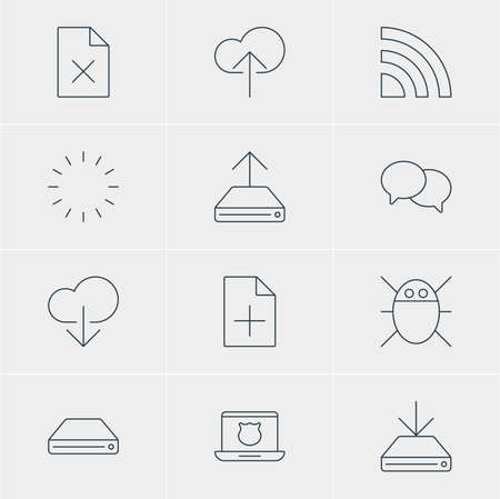 minicomputer: Illustration Of 12 Web Icons. Editable Pack Of Hdd Sync, Talking, Computer Virus And Other Elements. Illustration