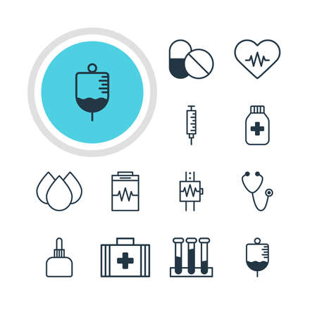 diastolic: Illustration Of 12 Health Icons. Editable Pack Of Heartbeat, Medicine Jar, Medical Bag And Other Elements. Stock Photo