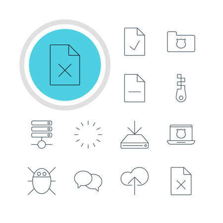 transmit: Vector Illustration Of 12 Web Icons. Editable Pack Of Removing File, Secure Laptop, Checked Note And Other Elements.