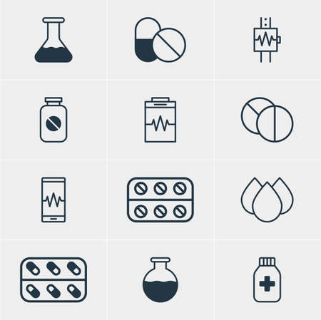 Vector Illustration Of 12 Medical Icons. Editable Pack Of Heartbeat, Medicine Jar, Pills And Other Elements.