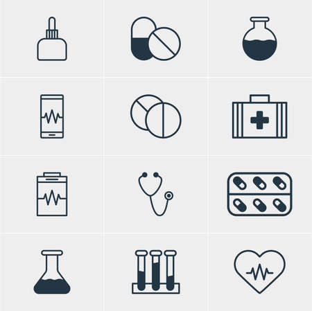 soundness: Vector Illustration Of 12 Medical Icons. Editable Pack Of Vial, Antibiotic, Round Tablet And Other Elements. Illustration