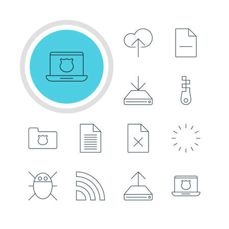 transmit: Vector Illustration Of 12 Web Icons. Editable Pack Of Cloud Download, Hdd Sync, Delete Data And Other Elements.