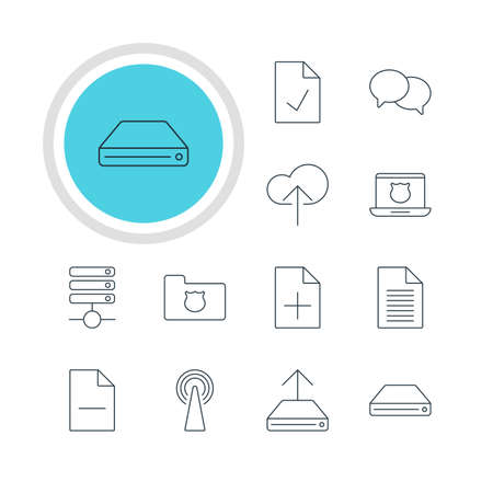 Vector Illustration Of 12 Web Icons. Editable Pack Of Removing File, Hdd Sync, Cloud Download And Other Elements.