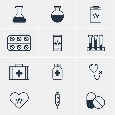 Vector Illustration Of 12 Medical Icons. Editable Pack Of Phone Monitor, Pills, Antibiotic And Other Elements.