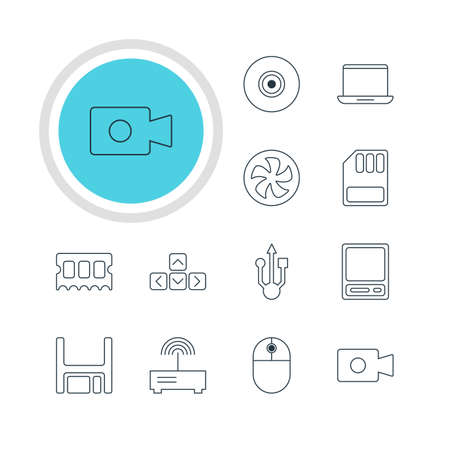 minicomputer: Vector Illustration Of 12 Laptop Icons. Editable Pack Of Router, Movie Cam, Usb Icon And Other Elements. Illustration