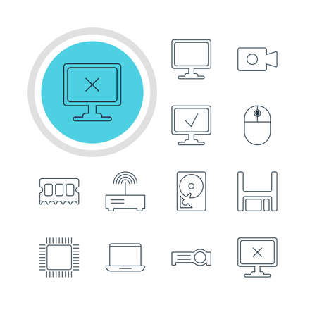 hard drive: Vector Illustration Of 12 Notebook Icons. Editable Pack Of Memory Chip, Diskette, Hard Drive Disk And Other Elements.