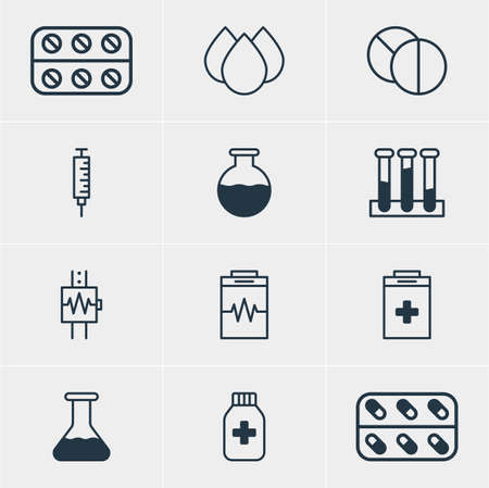 Vector Illustration Of 12 Medicine Icons. Editable Pack Of Vial, Heartbeat, Experiment Flask And Other Elements. Illustration