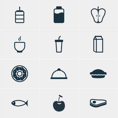 flan: Illustration Of 12 Food Icons. Editable Pack Of Jonagold, Soft Drink, Flan And Other Elements. Illustration