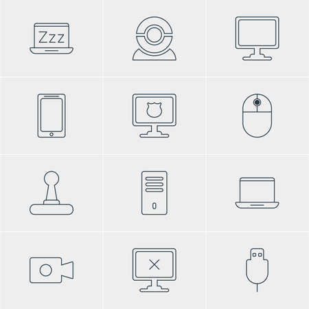 operative: Vector Illustration Of 12 Computer Icons. Editable Pack Of Laptop, Screen, Antivirus And Other Elements.