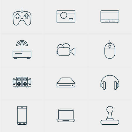 ssd: Vector Illustration Of 12 Technology Icons. Editable Pack Of Loudspeaker, Headset, Joypad And Other Elements.