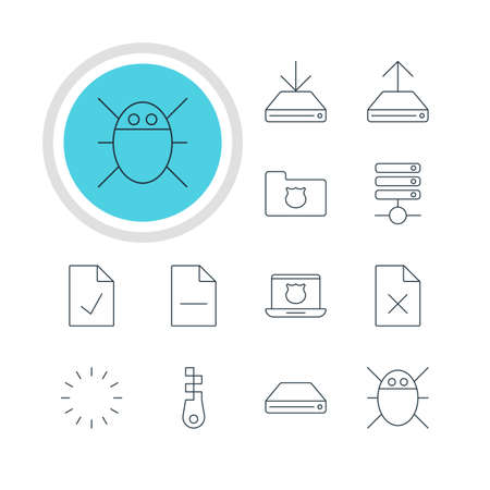 removing: Vector Illustration Of 12 Network Icons. Editable Pack Of Server, Hard Drive Disk, Removing File And Other Elements.
