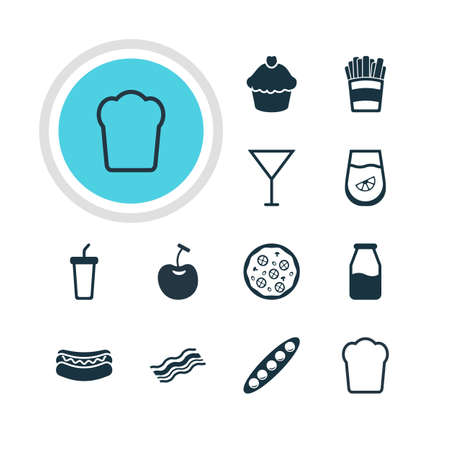 Vector Illustration Of 12 Dish Icons. Editable Pack Of Streetfood, Muffin, Berry Type And Other Elements. Illustration