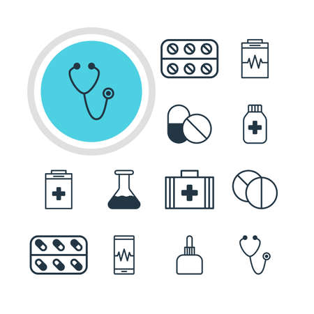 soundness: Vector Illustration Of 12 Health Icons. Editable Pack Of Phone Monitor, Antibiotic, Medical Bag And Other Elements. Illustration