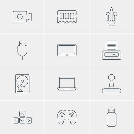 Vector Illustration Of 12 Laptop Icons. Editable Pack Of Flash Drive, Memory Chip, Movie Cam And Other Elements.