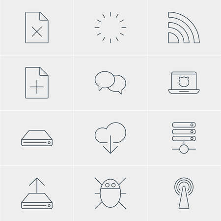 wap: Vector Illustration Of 12 Web Icons. Editable Pack Of Data Upload, Talking, Delete Data And Other Elements. Illustration