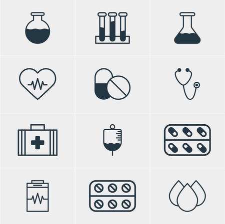diastolic: Vector Illustration Of 12 Health Icons. Editable Pack Of Flask, Treatment, Antibody And Other Elements. Illustration