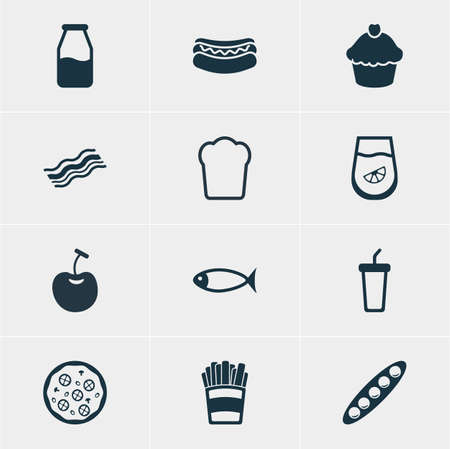 cruet: Vector Illustration Of 12 Cuisine Icons. Editable Pack Of Juice, Pizzeria, Cruet And Other Elements. Illustration