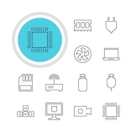 minicomputer: Vector Illustration Of 12 Computer Icons. Editable Pack Of Cooler, Notebook, Flash Drive And Other Elements. Illustration