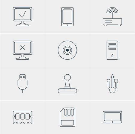 Vector Illustration Of 12 Notebook Icons. Editable Pack Of Serial Bus, Mainframe, Usb Icon And Other Elements.