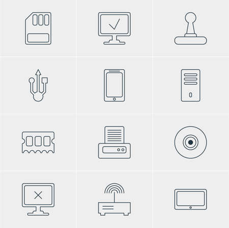 Vector Illustration Of 12 Laptop Icons. Editable Pack Of Objective, Access Denied, Game Controller And Other Elements.