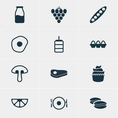 cruet: Vector Illustration Of 12 Cooking Icons. Editable Pack Of Vineyard, Cruet, Lime And Other Elements.