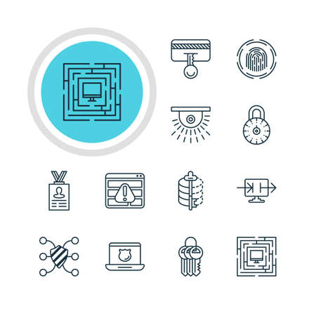 decode: Vector Illustration Of 12 Privacy Icons. Editable Pack Of Safeguard, Safe Lock, Account Data And Other Elements.