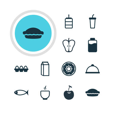 flan: Vector Illustration Of 12 Cooking Icons. Editable Pack Of Lactose, Flan, Soft Drink And Other Elements.