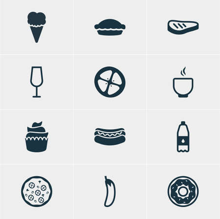 flan: Vector Illustration Of 12 Cooking Icons. Editable Pack Of Drink Bottle, Flan, Dessert And Other Elements.