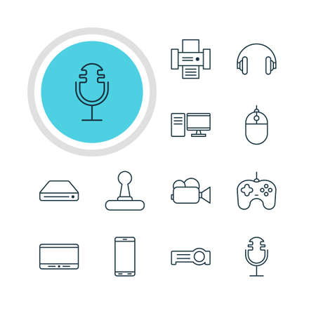 Vector Illustration Of 12 Accessory Icons. Editable Pack Of Joypad, Memory Storage, Floodlight And Other Elements. 向量圖像