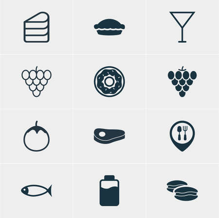 flan: Vector Illustration Of 12 Dish Icons. Editable Pack Of Sirloin, Flan, Vineyard And Other Elements.