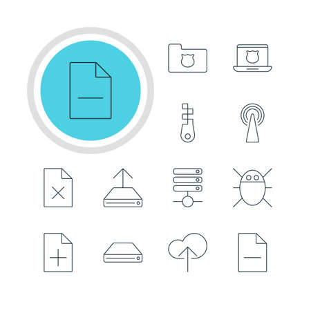 transmit: Vector Illustration Of 12 Internet Icons. Editable Pack Of Computer Virus, Removing File, Hard Drive Disk And Other Elements.