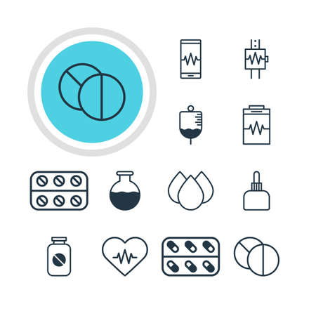diastolic: Vector Illustration Of 12 Medical Icons. Editable Pack Of Round Tablet, Vial, Antibody And Other Elements. Illustration