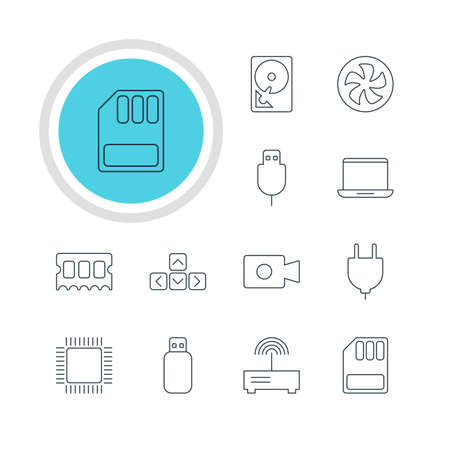 Vector Illustration Of 12 Laptop Icons. Editable Pack Of Cooler, Microprocessor, Hard Drive Disk And Other Elements.