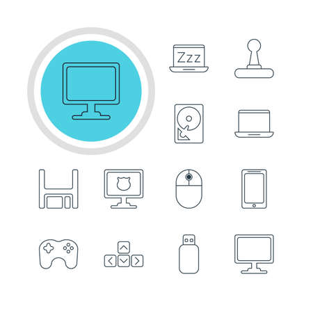 Vector Illustration Of 12 Computer Icons. Editable Pack Of Screen, Smartphone, Keypad And Other Elements. Illustration