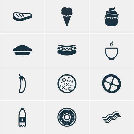 flan: Vector Illustration Of 12 Meal Icons. Editable Pack Of Drink Bottle, Streetfood, Flan And Other Elements.