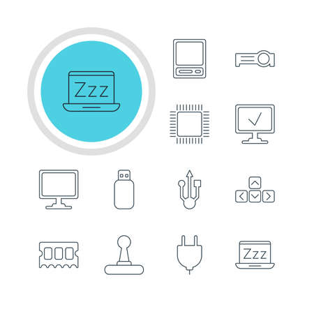 minicomputer: Vector Illustration Of 12 Notebook Icons. Editable Pack Of Online Computer, Usb Icon, Socket And Other Elements.